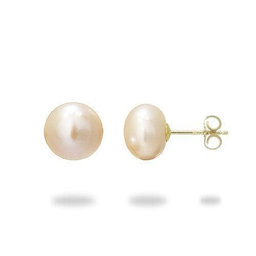 Freshwater Natural Color Pearl Earrings in Gold (9-10mm)-Maui Divers Jewelry