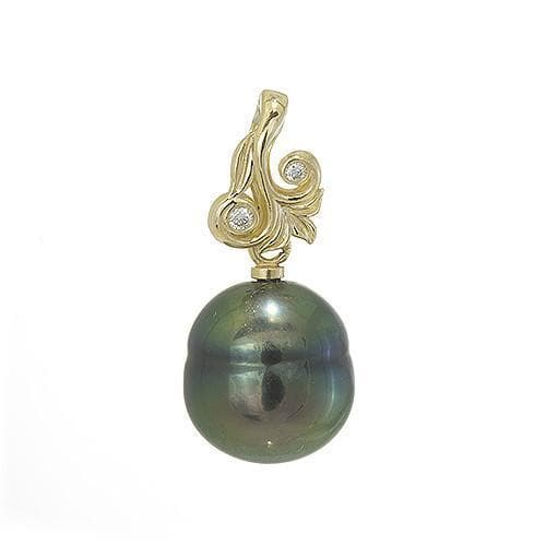 Hawaiian Heirloom Tahitian Black Pearl Pendant with Diamonds in 14K Yellow Gold (10-12mm)