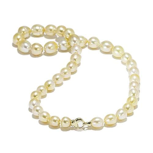 South Sea Golden Pearl (9-12mm) Strand in 14K Yellow Gold