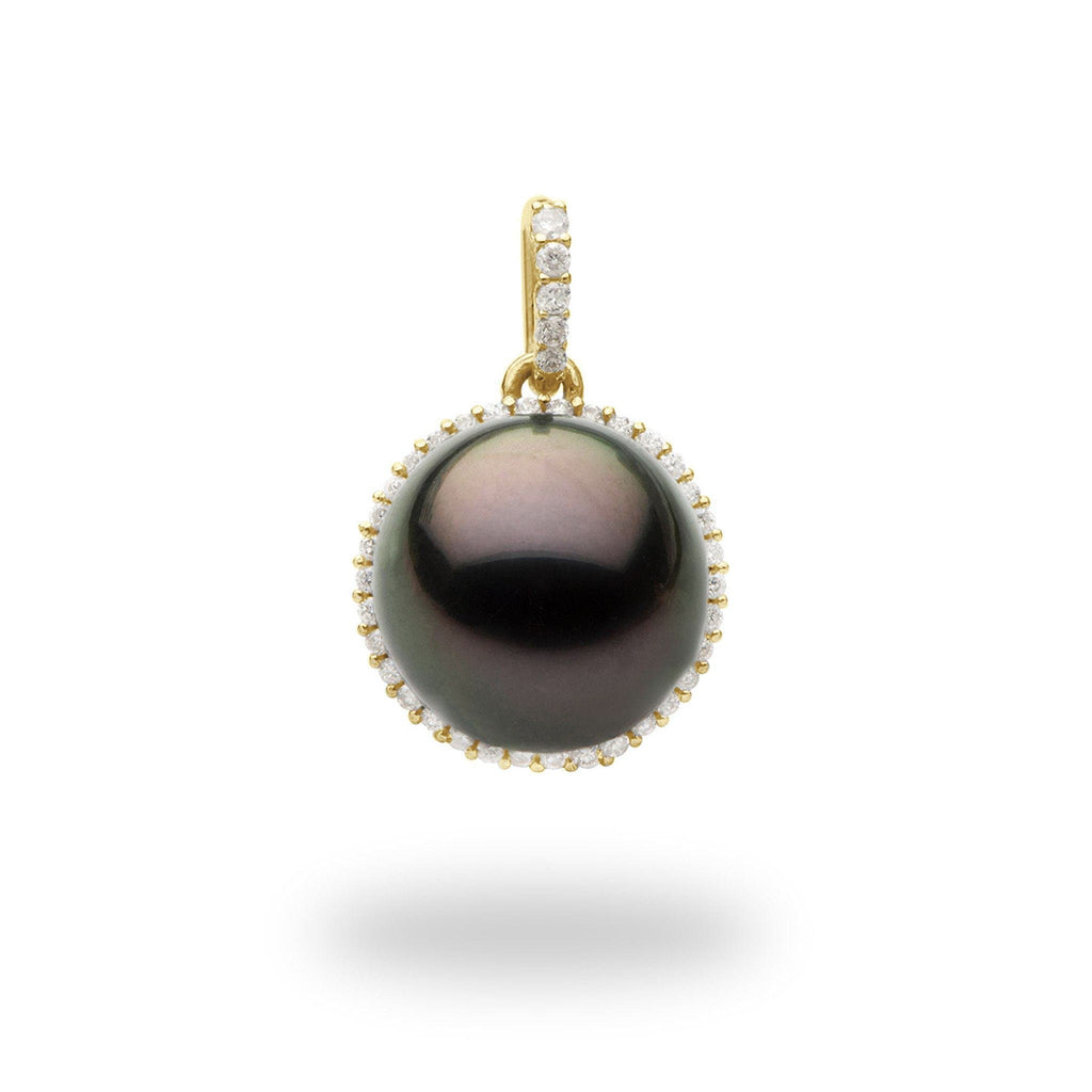 Halo Tahitian Black Pearl Pendant with Diamonds in 14K Yellow Gold (14-15mm) - Maui Divers Jewelry