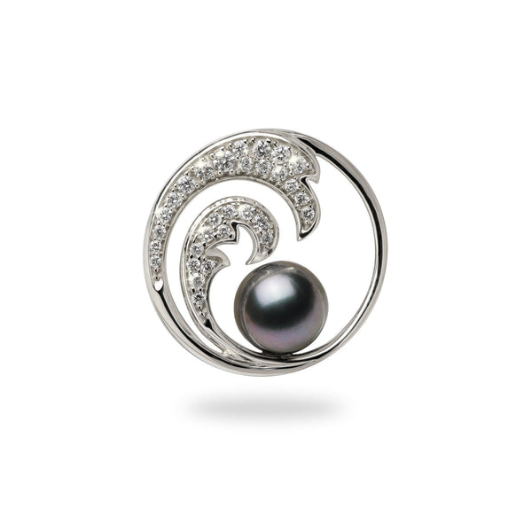 tahitian black pearl white gold wave pendant with diamonds