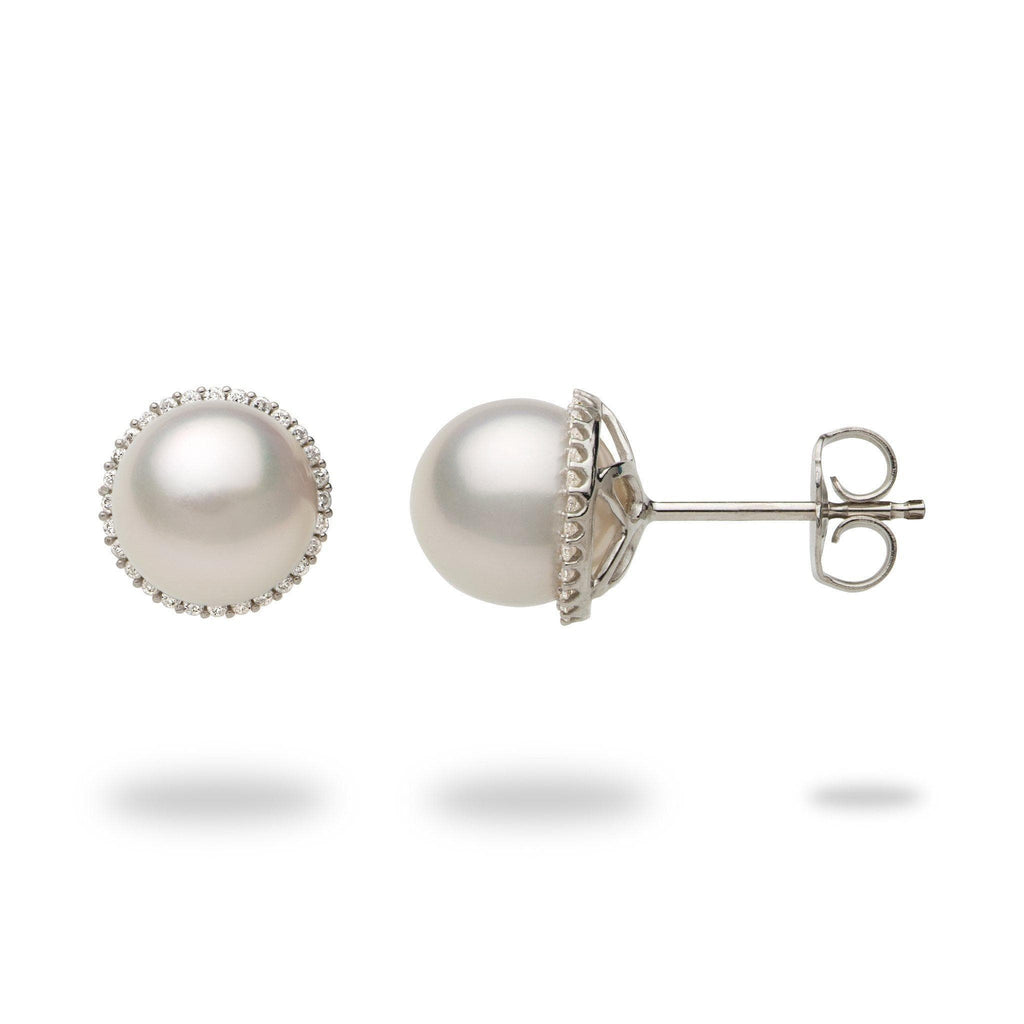 Halo Akoya Pearl Earrings with Diamonds in 14K White Gold (8-8.5mm) - Maui Divers Jewelry
