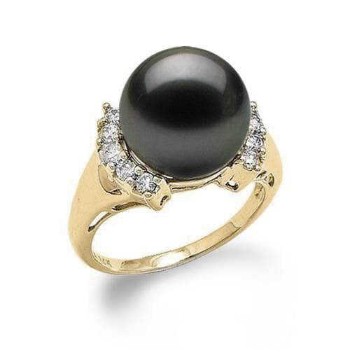 Tahitian Black Pearl Ring with Diamonds in 14K Yellow Gold (12-13mm) - Maui Divers Jewelry