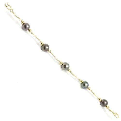 Tahitian Black Pearl (9-10mm) Bracelet in 14K Yellow Gold 006-14370