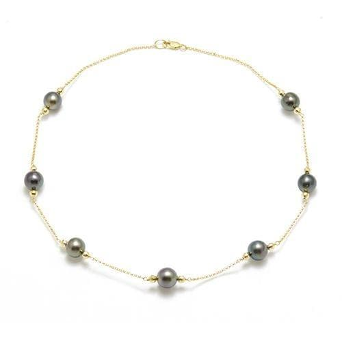 "17.5-18"" Tahitian Black Pearl Necklace in Gold-Maui Divers Jewelry"