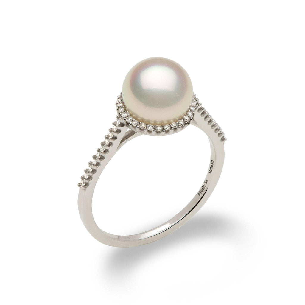 Akoya Pearl Ring with Diamond in 14K White Gold (8mm) - Maui Divers Jewelry