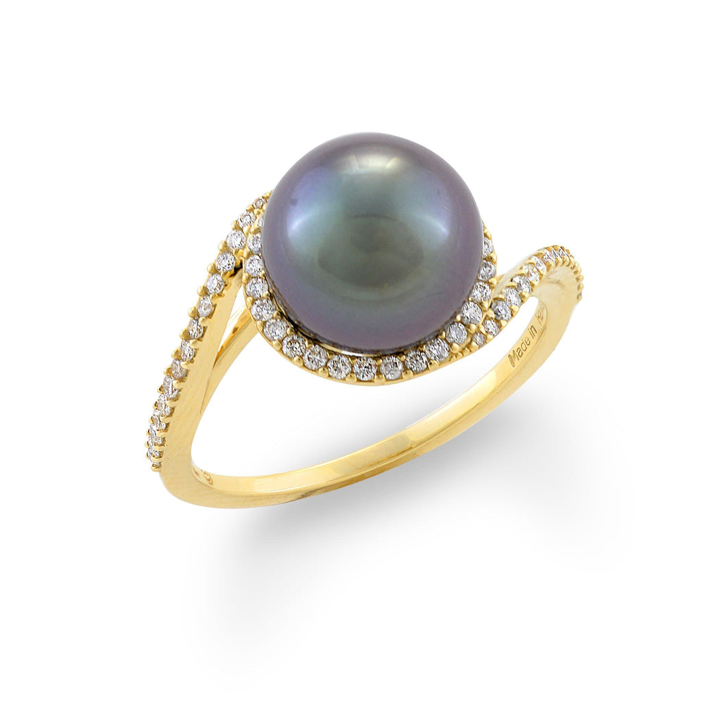 Diamondsが14KのYellow Gold(9-10mm)006-14403にある後光Bypass Tahitian Black Pearl Ring