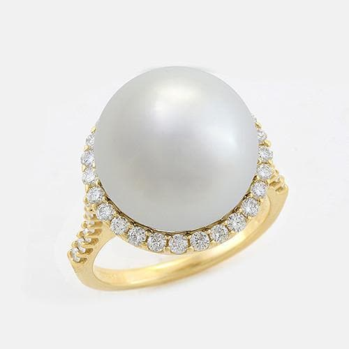 Halo South Sea Pearl Ring with Diamonds in 14K Yellow Gold (14-15mm) 006-14411