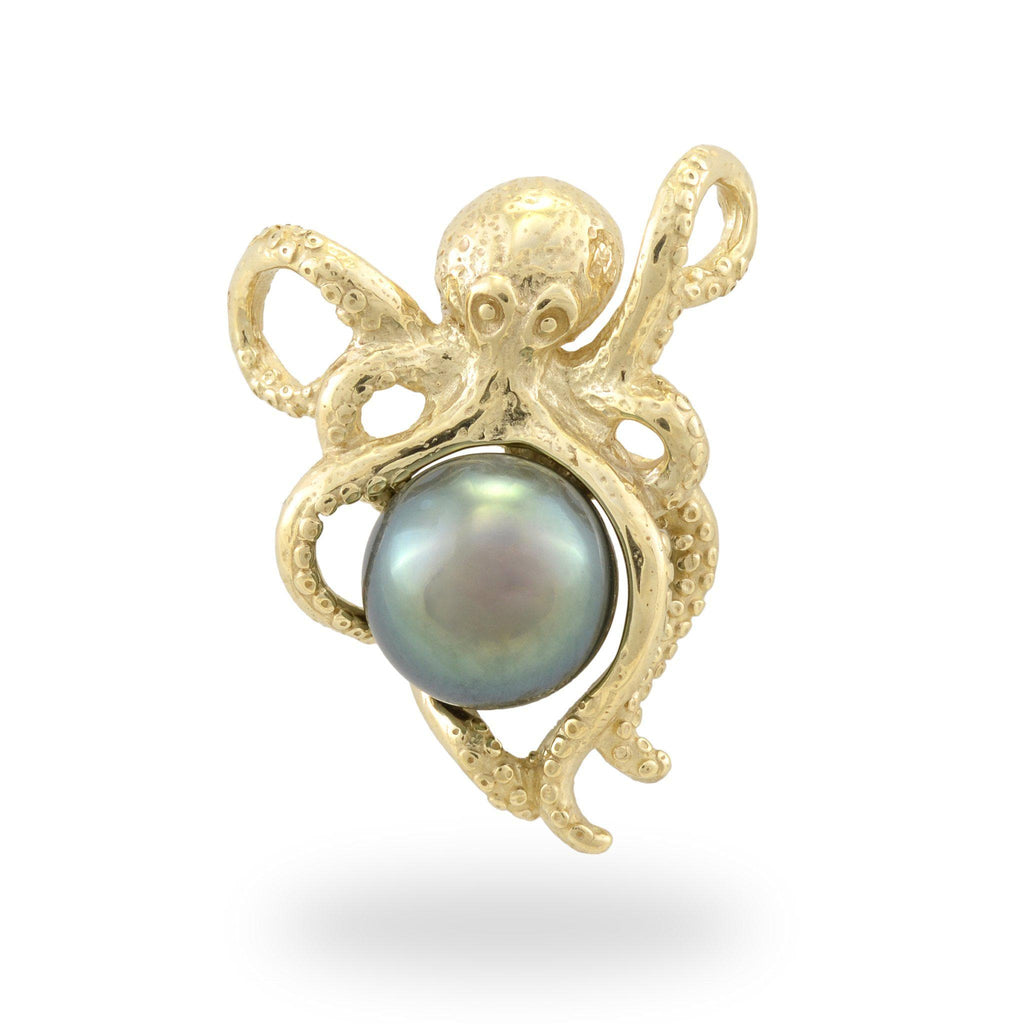 He'e (Octopus) Tahitian Black Pearl Pendant in 14K Yellow Gold-8-10mm-[SKU]