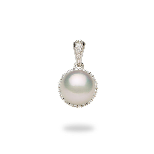 Halo Akoya Pearl Pendant with Diamonds in 14K White Gold (8-8.5mm) - Maui Divers Jewelry
