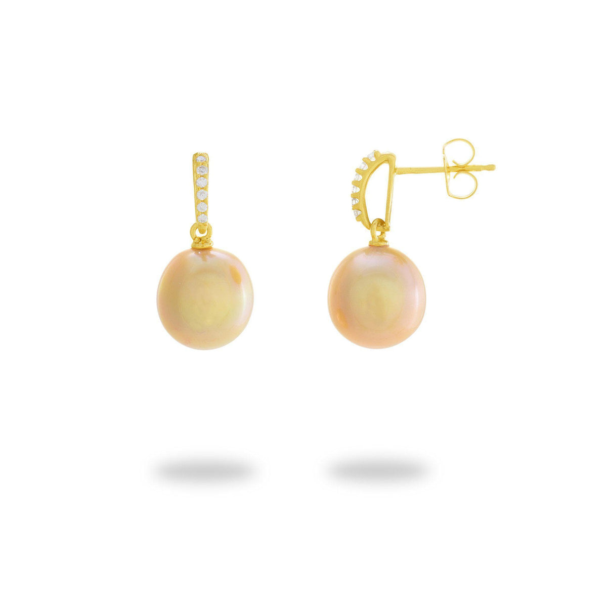 South Sea Golden Pearl Earrings with Diamonds in 14K Yellow Gold (10-11mm)