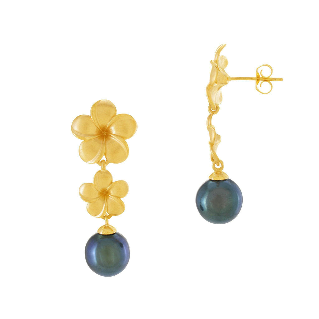 Plumeria Tahitian Pearl Earrings in 14K Yellow Gold (9-10mm) 006-14440