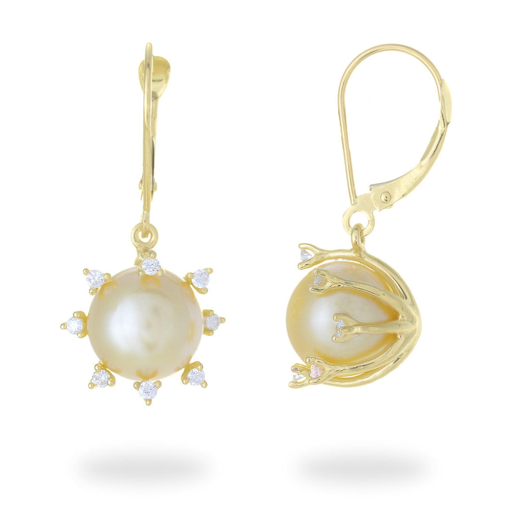 South Sea Golden Pearl Earrings with Diamonds in 14K Yellow Gold (11-12mm) - Maui Divers Jewelry