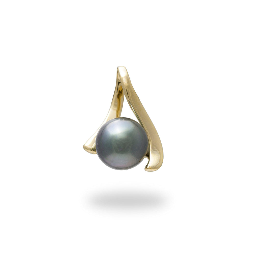 Tahitian Black Pearl Pendant in 14K Yellow Gold (8-9mm)-[SKU]