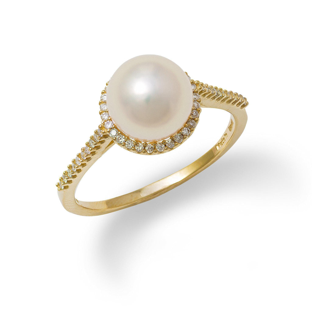 Akoya Pearl Ring with Diamond in 14K Yellow Gold (8-8.5mm)-[SKU]