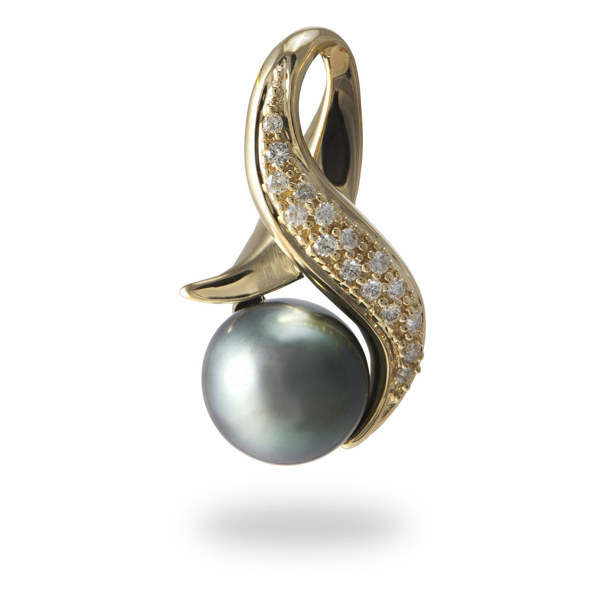 Tahitian Black Pearl Pendant with Diamonds in 14K Yellow Gold (10-12mm)-[SKU]