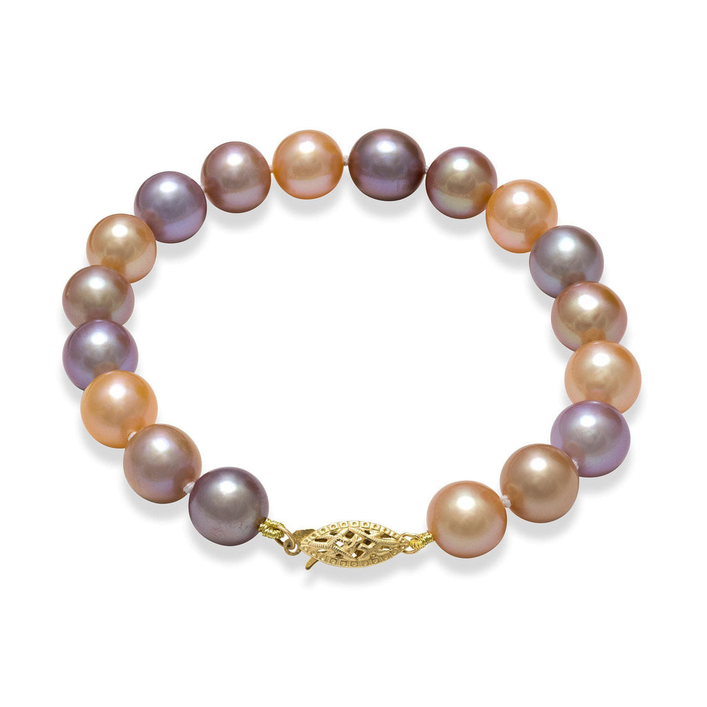 Multi-color Freshwater Pearl Bracelet in 14K Yellow Gold