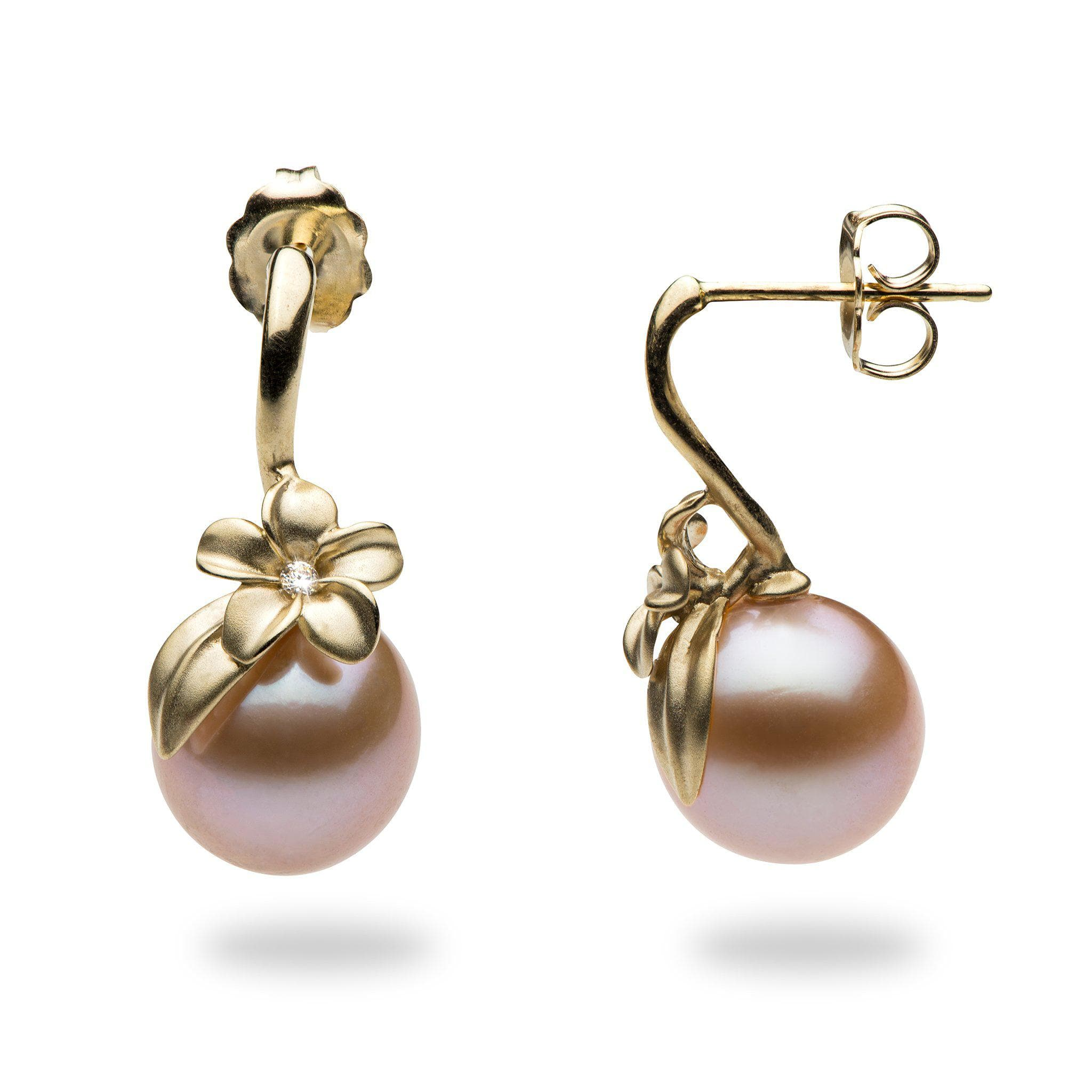 earrings freshwater pink stud pearl