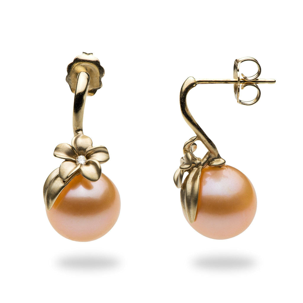 Plumeria Peach Freshwater Pearl Earrings in 14K Yellow Gold with Diamonds