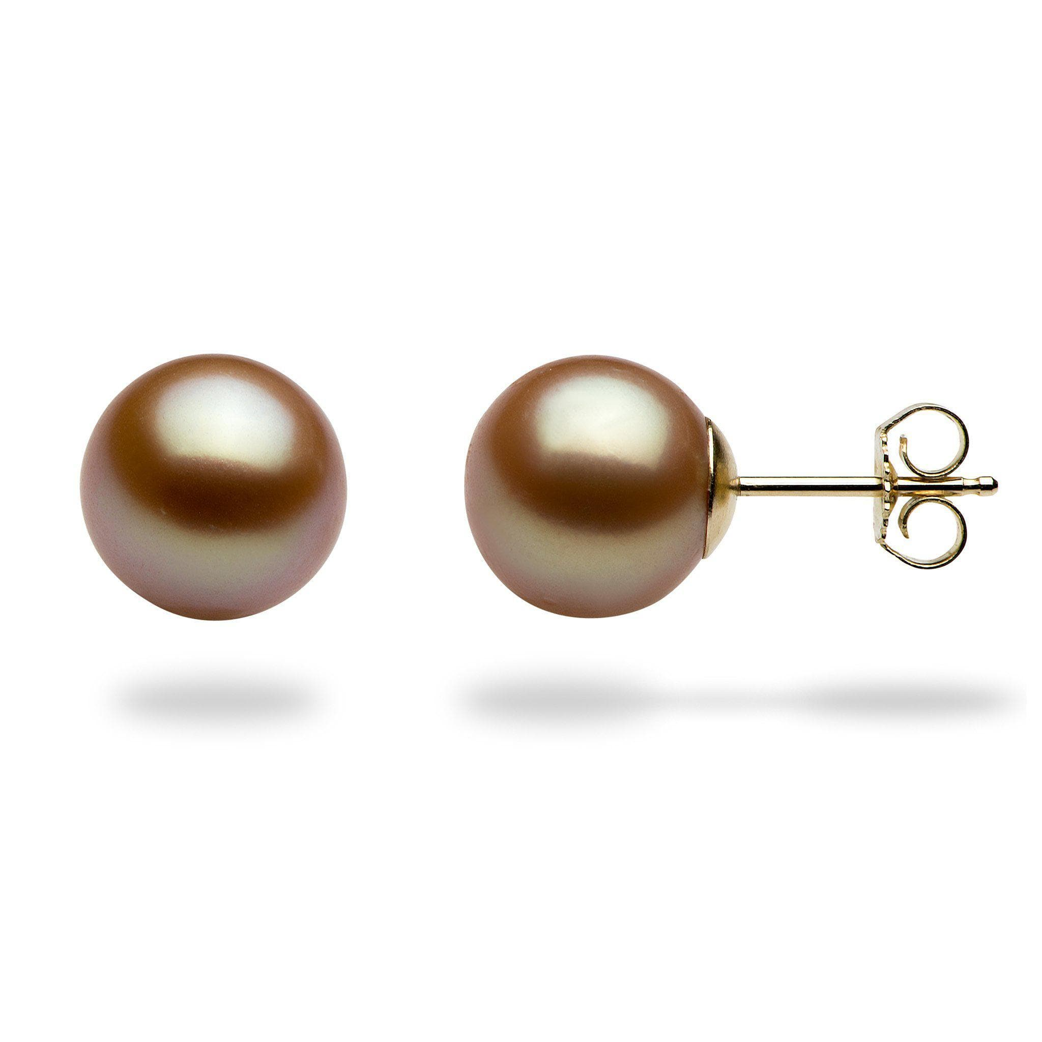 round pearl stud leverbacks earrings aaa asp on mm gold cultured pearls p