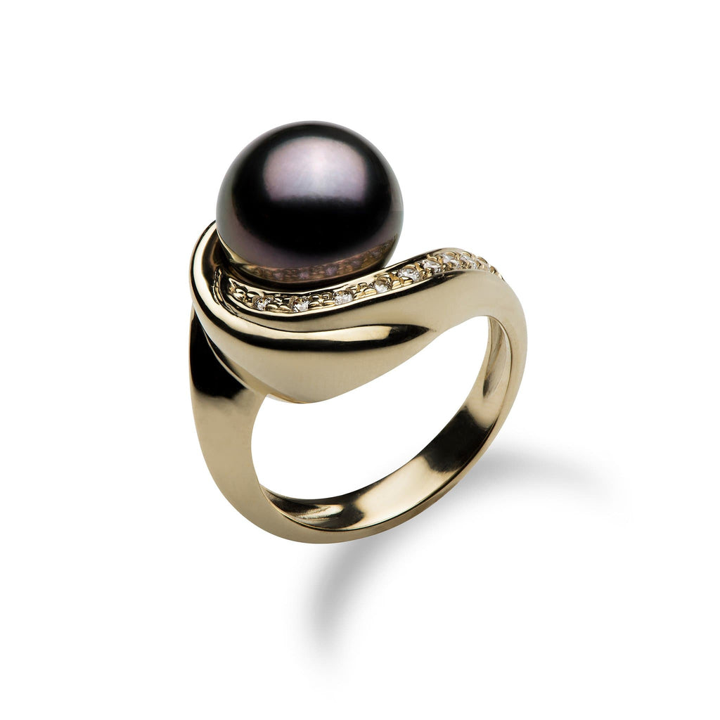 Tahitian Pearl Ring with Diamonds in the 14K Yellow Gold - Maui Divers Jewelry