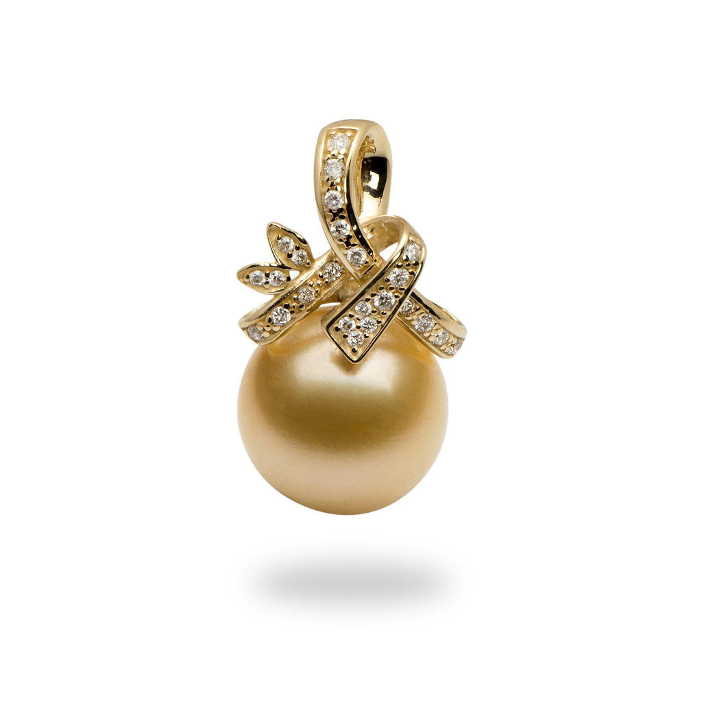 South Sea Golden Pearl (11-12mm) Pendant in 14K Yellow Gold with Diamonds