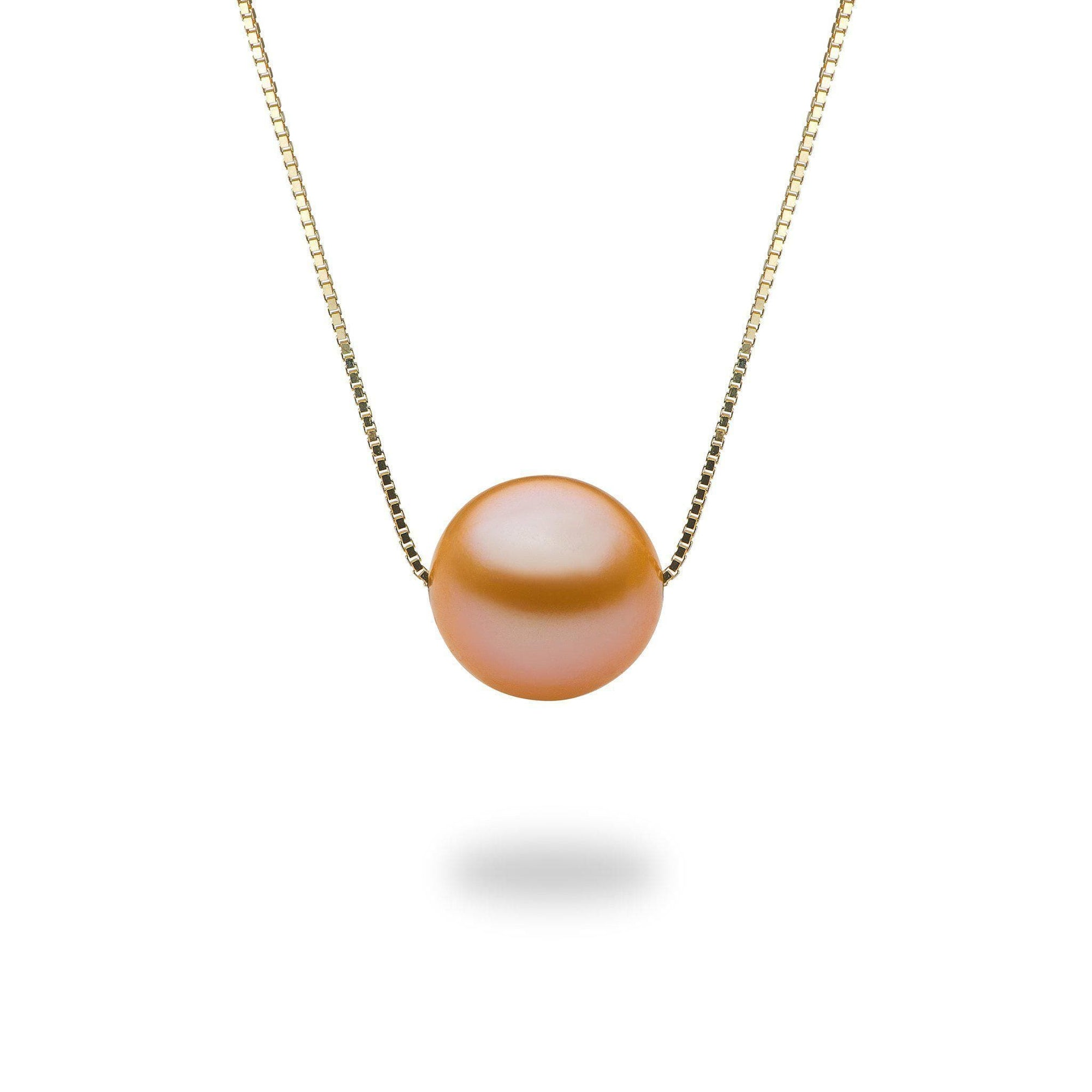 Peach Freshwater Sunset Pearl Adjustable Necklace in 14K Yellow Gold (9-10mm) - Maui Divers Jewelry