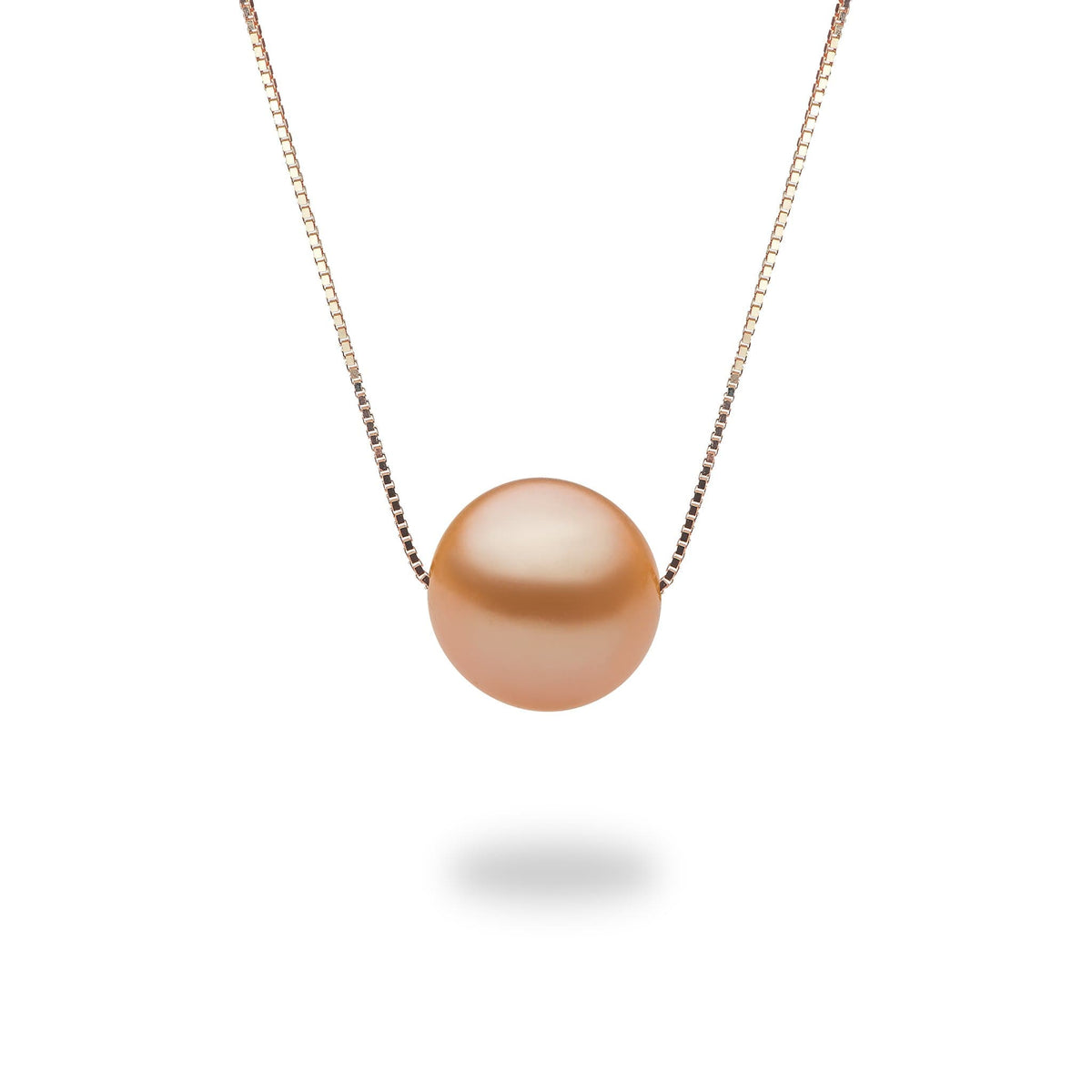 Peach Freshwater Sunset Pearl Adjustable Necklace in 14K Rose Gold (9-10mm) - Maui Divers Jewelry