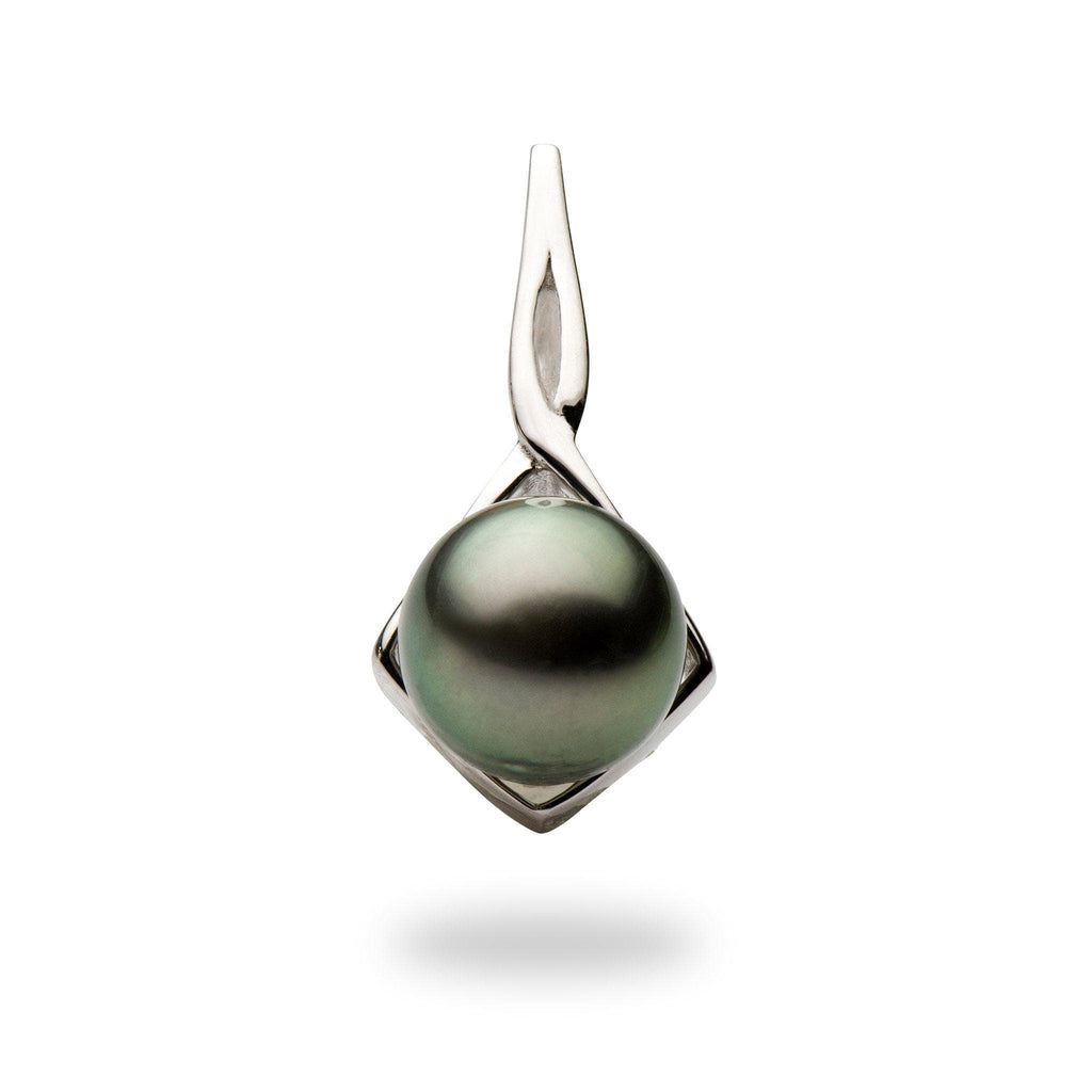 Tahitian Black Pearl Pendant in 14K White Gold (8-10mm)-[SKU]
