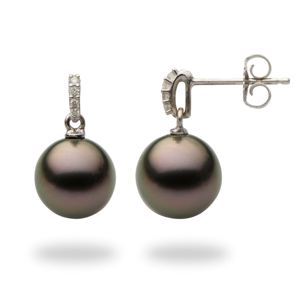 Tahitian Black Pearl Earrings with Diamonds in 14K White Gold (9-10mm) - Maui Divers Jewelry
