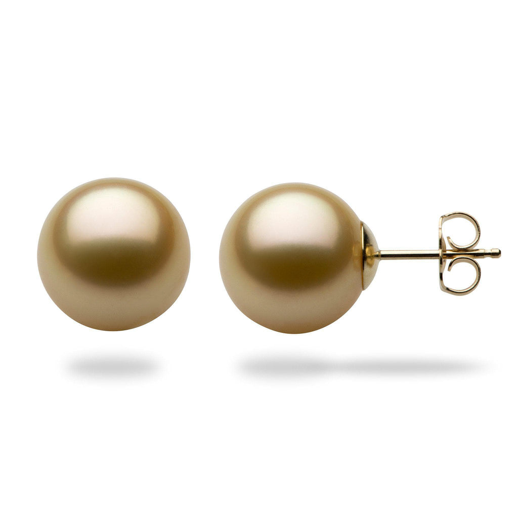 South Sea Gold Pearl Earrings in 14K Yellow Gold (11-12mm) 006-14653-[SKU]