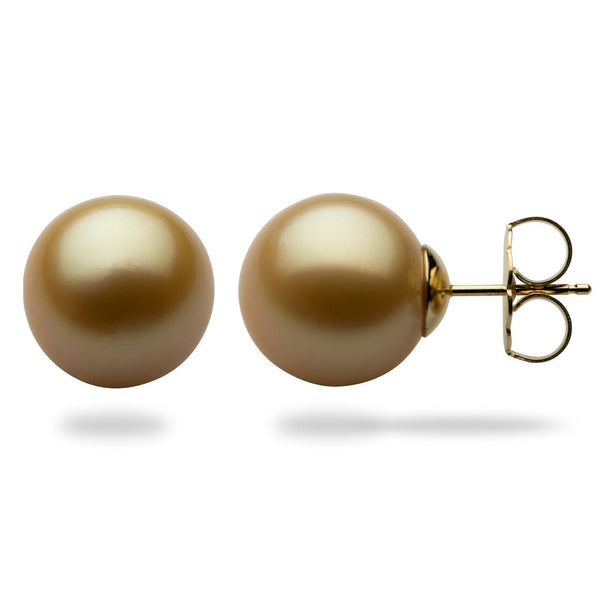 South Sea Gold Pearl Earrings in 14K Yellow Gold (13-14mm)-[SKU]