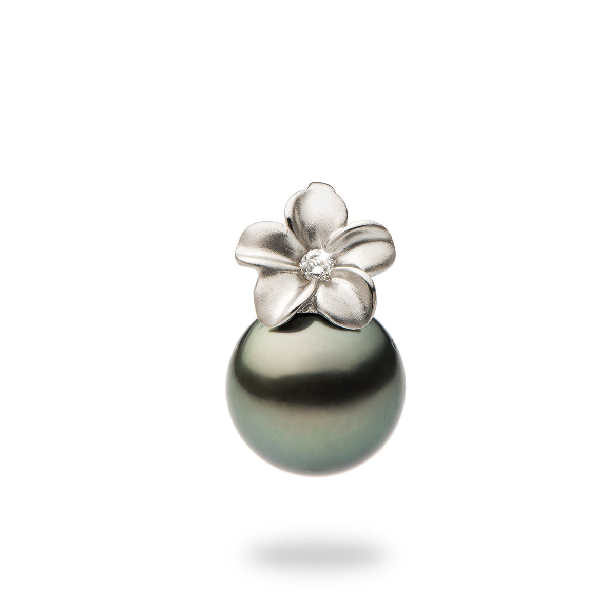 Plumeria Pendant with Tahitian Black Pearl and Diamonds in 14K White Gold (9-10mm)