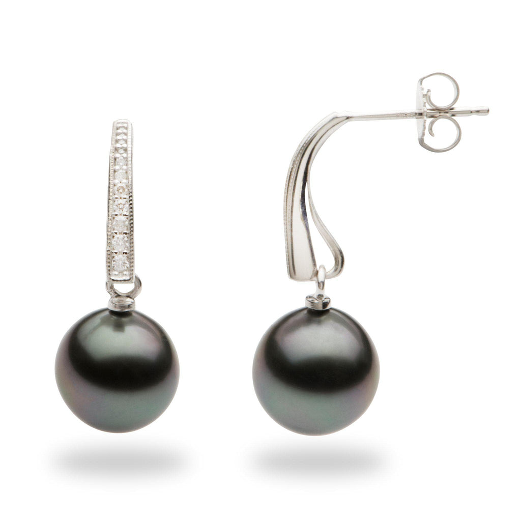 Tahitian Black Pearl Earrings with Diamonds in 14K White Gold (9-10mm)-[SKU]