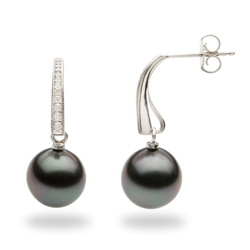 Tahitian Black Pearl Earrings with Diamonds in 14K White Gold (9-10mm)-Maui Divers Jewelry