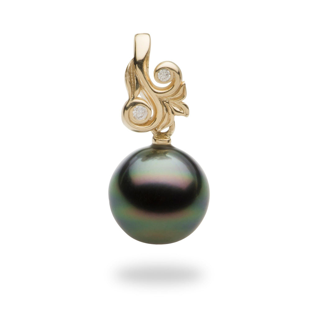Tahitian Black Pearl Pendant in 14K Yellow Gold with Diamonds