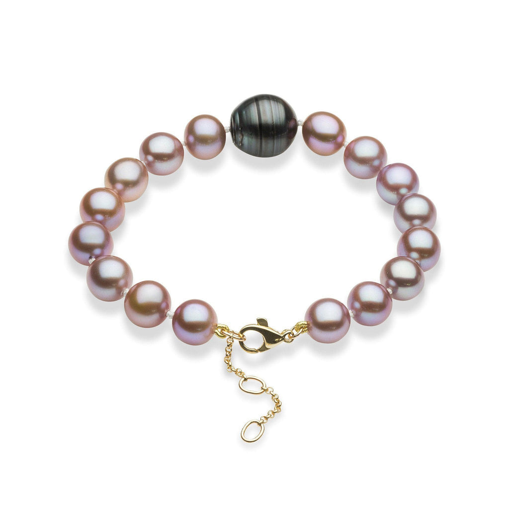 Freshwater and Tahitian Pearl Bracelet in 14K Yellow Gold (9-10mm)