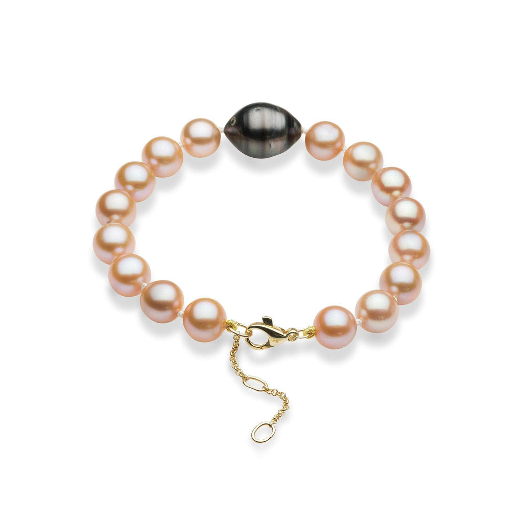 Freshwater and Tahitian Pearl Bracelet in 14K Yellow Gold (9-10mm)-[SKU]