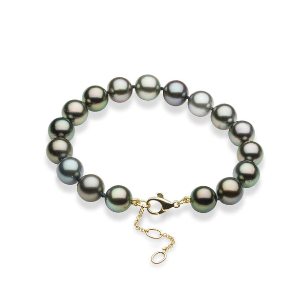 "7.5-9"" Adjustable Tahitian Black Pearls Bracelet in Gold (9-10mm)-Maui Divers Jewelry"