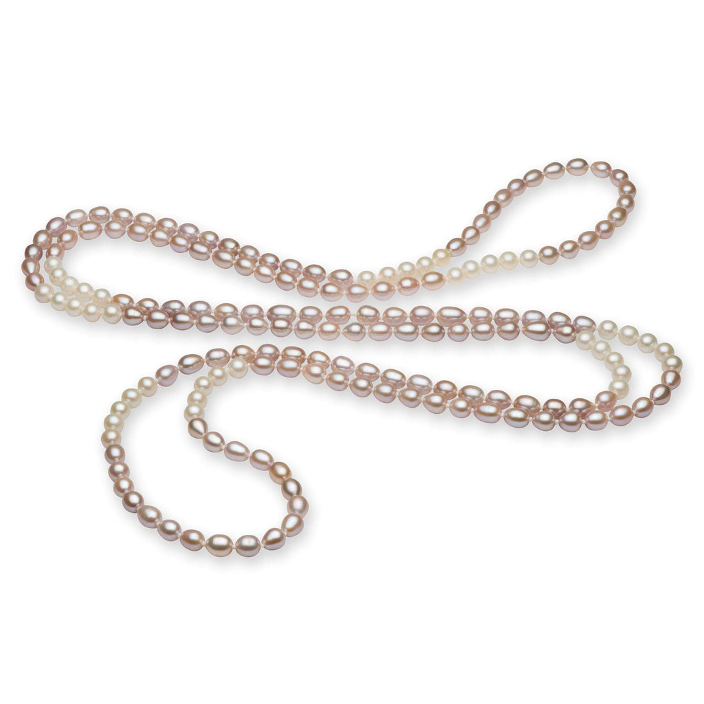Lavender and White Multi-Color Freshwater Pearl Strand (7-8mm)