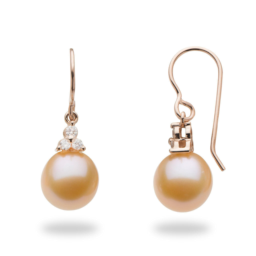 Freshwater Peach Pearl Earrings with Diamonds in 14K Rose Gold (9-10mm)