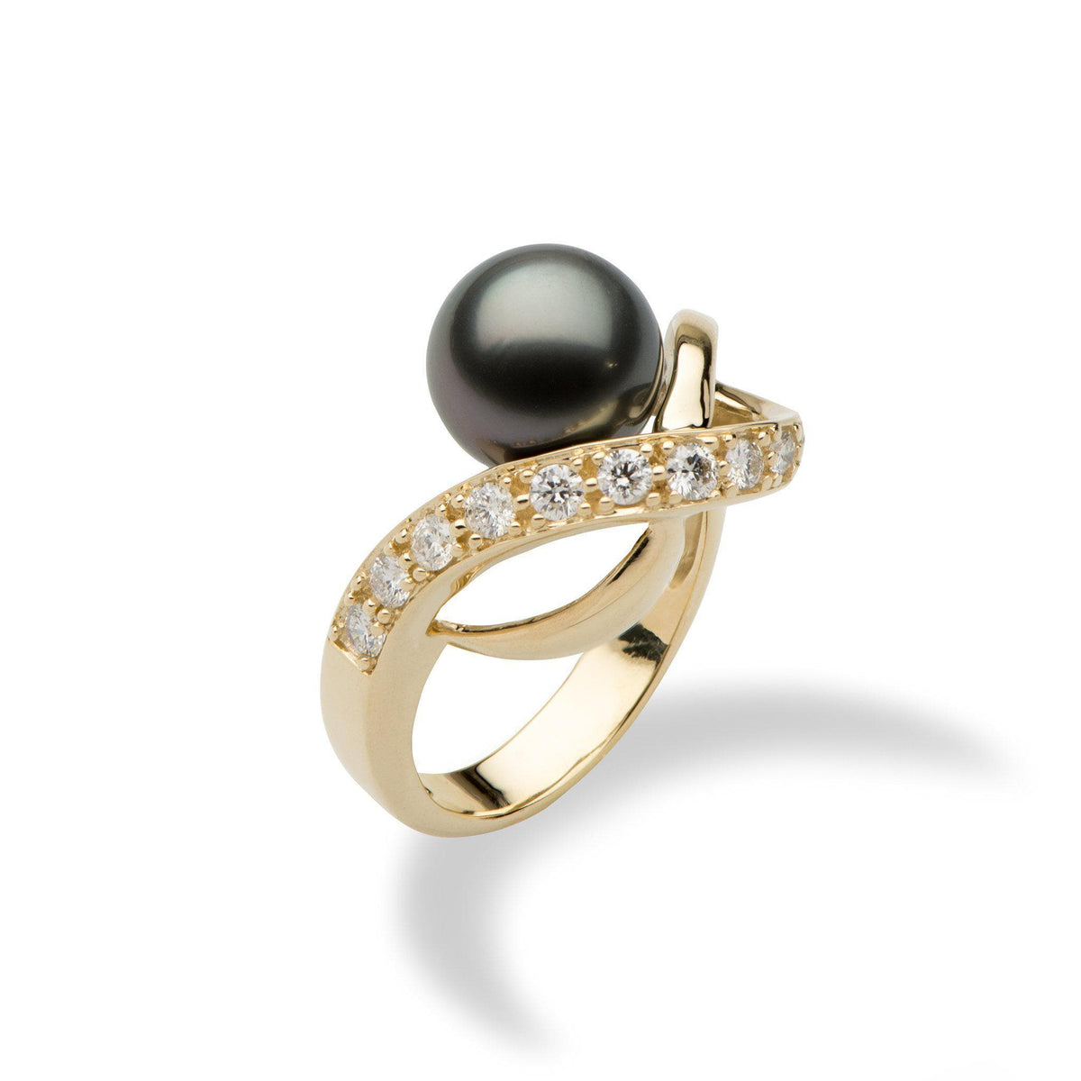 Tahitian Black Pearl Ring with Diamond in 14K Yellow Gold (9-10mm)-[SKU]