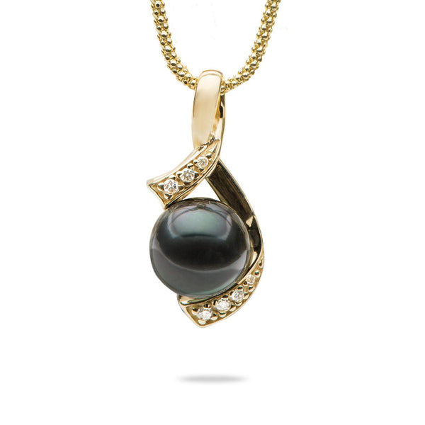 "18"" Tahitian Black Pearl Necklace in Gold with Diamonds-Maui Divers Jewelry"