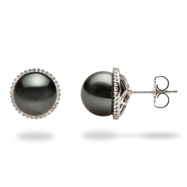 Tahitian Black Pearl Earrings in 14K White Gold (10-11mm) 006-14764 - Maui Divers Jewelry