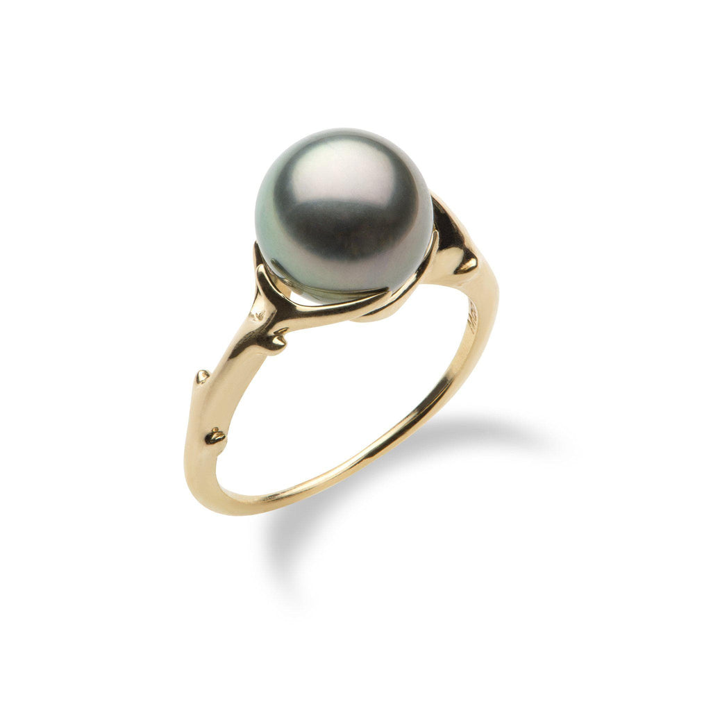 Hawaiian Heritage Tahitian Pearl Ring in 14K Yellow Gold  (9-10mm) - Maui Divers Jewelry