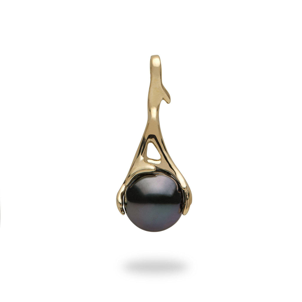 Hawaiian Heritage Tahitian Pearl Pendant in 14K Yellow Gold  (9-10mm) - Maui Divers Jewelry