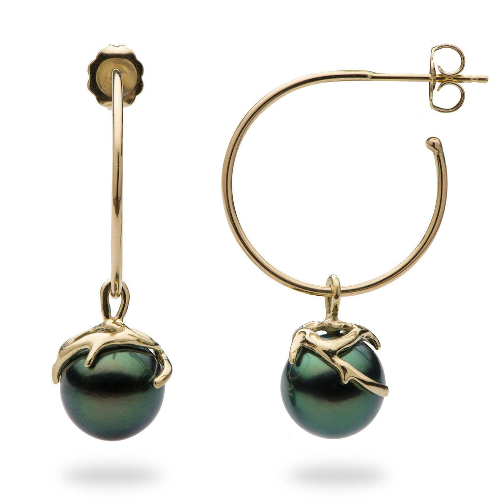 Hawaiian Heritage Tahitian Pearl Earrings in 14K Yellow Gold  (9-10mm)