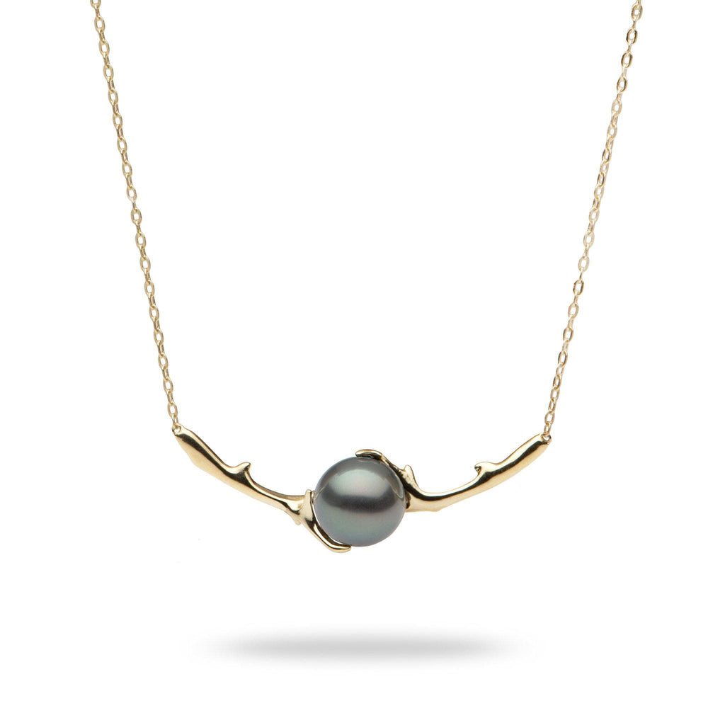 Hawaiian Heritage Tahitian Pearl Necklace in 14K Yellow Gold  (9-10mm) - Maui Divers Jewelry