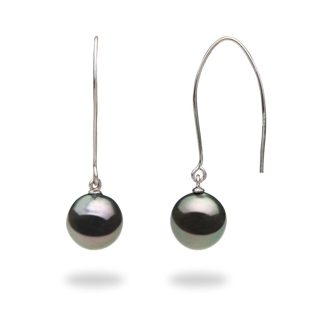 Tahitian Black Pearl Earrings in 14K White Gold (9-10mm) - Maui Divers Jewelry