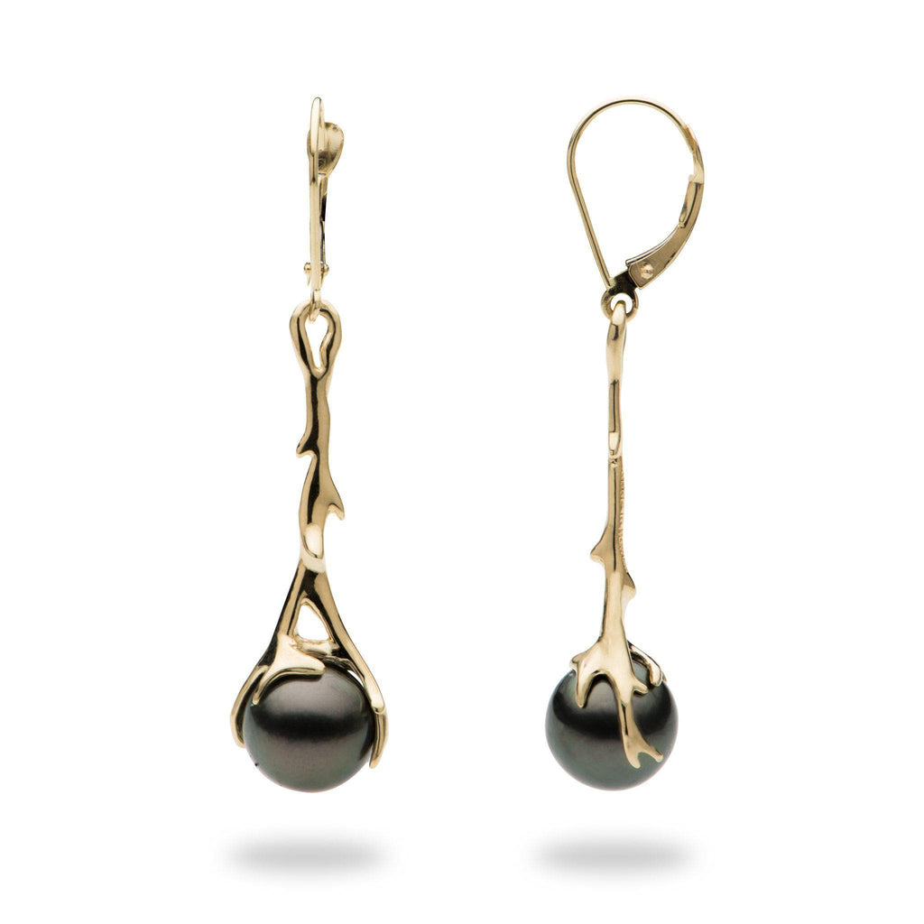Hawaiian Heritage Tahitian Pearl Earrings in Gold-[SKU]